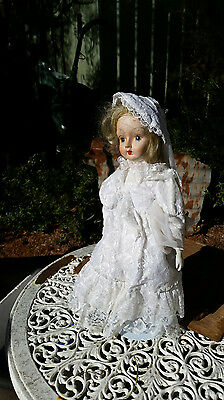 Tall vintage hard plastic and Porcelain doll with Lace Bride dress