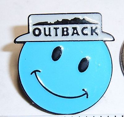 Outback Steakhouse Lapel Pin Hat Pin Outback Large Smiley Face Blue With Hat