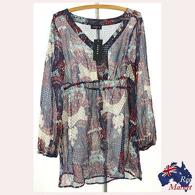Stunning ISHYA Ladies Tunic Top / Blouse  Size: 18 - SHEER - New w/Tags