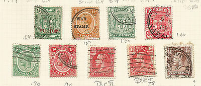 JAMAICA LOT OF 9 values; GEORGE V, incl. war stamps, used.