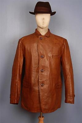 Stunning Vtg 30s ALBERT RICHARD Horsehide Half Belt Motorcycle Sports Jacket Lrg
