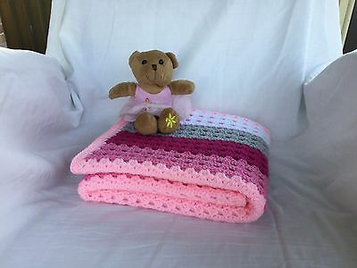 Handmade Crochet Baby Bassinet Car Cot Pram Toddler Blanket *Fairy Floss Clouds*