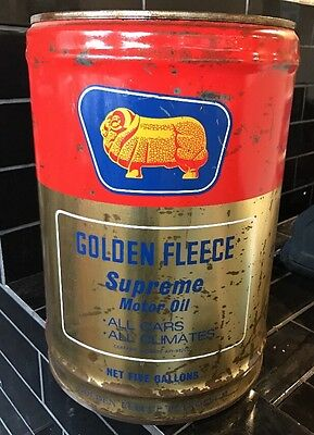 Golden fleece supreme motor oil five gallon tin drum aud for Motor oil by the drum