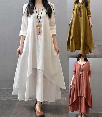 Muslim Kaftan Women Abaya Jilbab Islamic Long Sleeve Vintage Party Maxi Dress