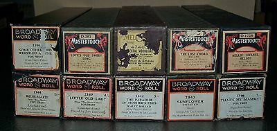 BULK LOT: 10 x VINTAGE PIANOLA ROLLS (Mastertouch, Broadway,etc) various genres