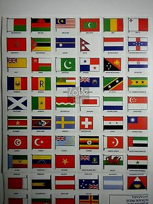 Set of 200 FLAGS OF THE WORLD stamps or stickers-replicas-free US shipping