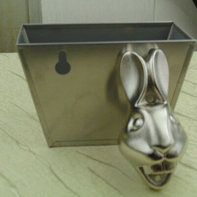 Cast Stainless Wall Mount Rabbit Head Beer Soda Bottle Opener Mounted Pubs Decor