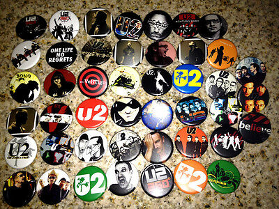 Set of 45 U2 band collectible pins/buttons/badges joshua tree bono