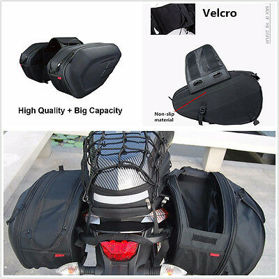 Universal fit Motorcycle Pannier Bags Luggage 36-58L Saddle Bags w/ Rain Cover