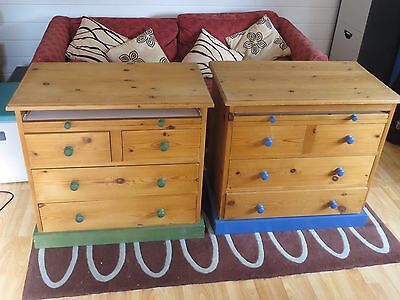 pair of child's chest of drawers / computer desk unit.