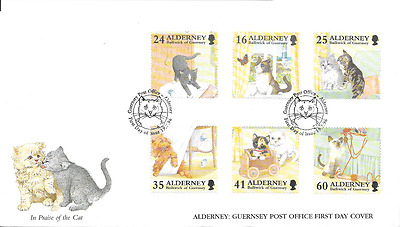 ALDERNEY 1996 Cats set FDC