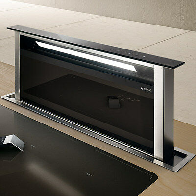 Elica Andante 90cm Downdraft extractor in Black Glass