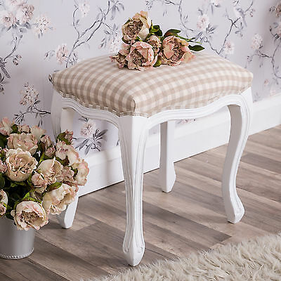 White Dressing Table Stool Padded Shabby Vintage Chic French Furniture Seat Home