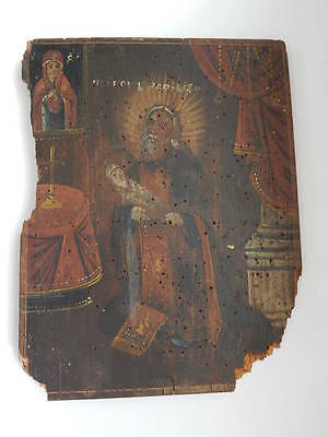 SAINT STYLIANUS - ANTIQUE OLD RUSSIAN HAND PAINTED WOODEN ICON, 280mm x 210mm