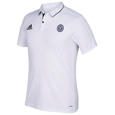 adidas Hombre Fútbol New York City FC Coaches Polo Camisa Top Blanco Deporte