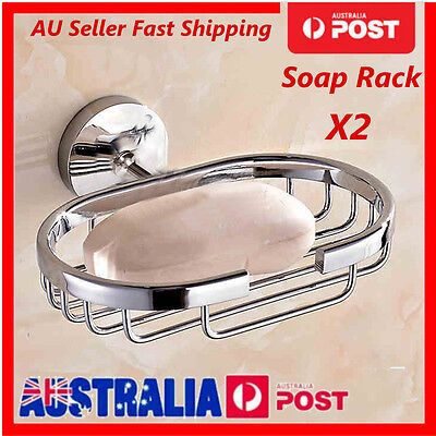 2x Stainless Steel Soap Case Wall Mount Bathroom Dish Plate Tray Storage Holder