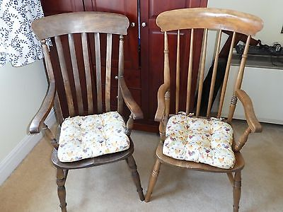 Antique Wooden High Back Arm Chairs