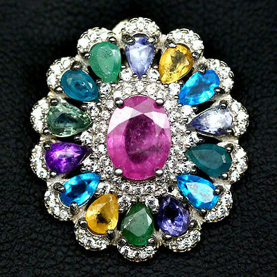 Real! Pink Ruby, Sapphire, Apatite, Emerald,..925 Sterling Silver Pendant