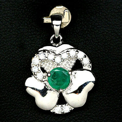 Exceptional! Real! Green Emerald & Cz 925 Sterling Silver Pendant White Gold