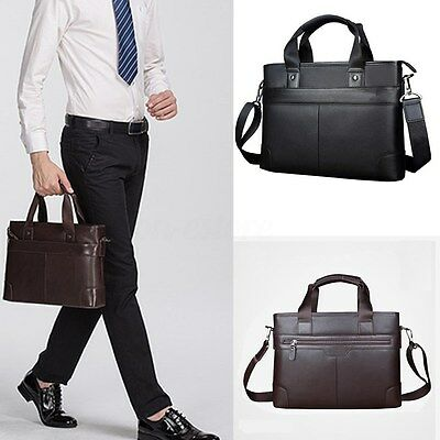 US Men Leather Briefcase Shoulder Business Messenger Laptop Bag Handbag Satchel