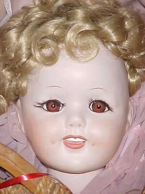"1984 MARY KAY ROMANS SHIRLEY TEMPLE PORCELAIN DOLL BASKET CASE 24"" tlc"