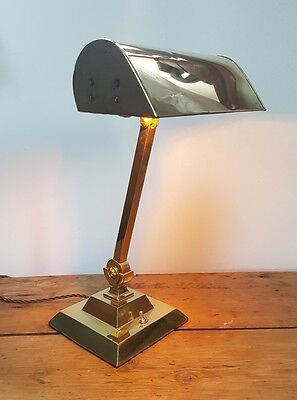 Antique Brass Bankers Lamp Table Lamp. Fully Rewired and PAT tested.