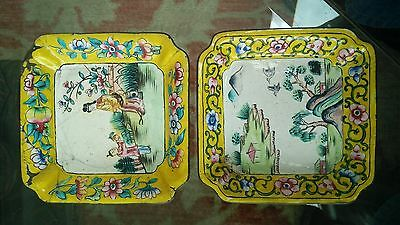 Antique Imperial Yellow Chinese Canton Enamel Trays