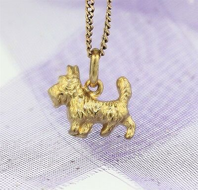 """3D SCOTTISH TERRIER or SCOTTIE DOG CHARM"" Guaranteed Genuine 9ct Gold"