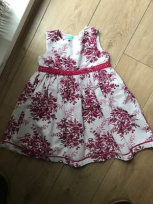 Monsoon White & Pink Floral Dress - Age 2-3