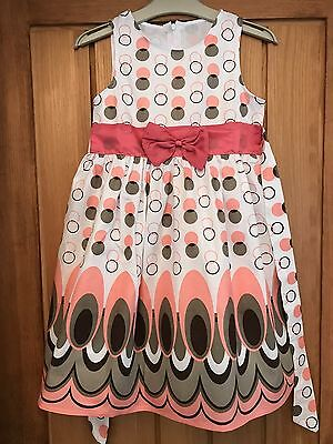 Bnnt Pretty Girls Apricot/white Spotted Summer Cotton Dress - Age 5