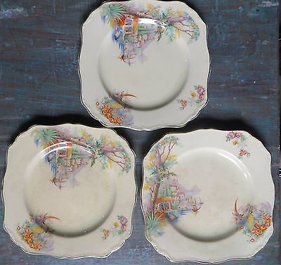 J & G Meakin England Sunshine Decorated Pottery 3Pc Kitchen Serving Square Bowls