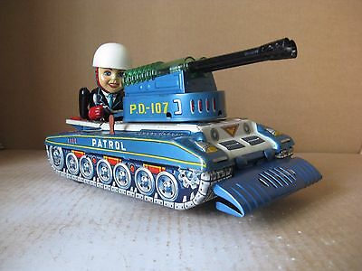 1950s RARE PATROL COMMANDER PD 107 HORIKAWA TIN TOYS JAPAN BATTERY OPERATED