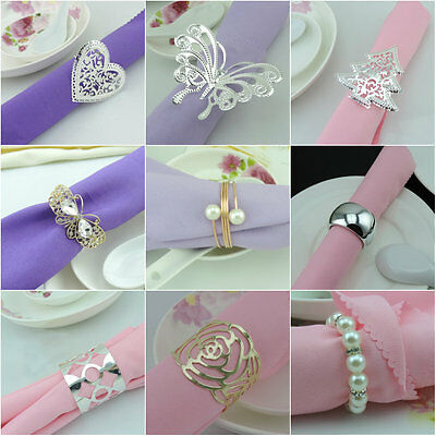 10-12pcs/Set Napkin Rings Handmade Serviette Buckle Holder For Wedding Dinner