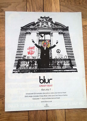 BLUR Crazy Beat UK Poster size Press ADVERT 13x11 inches