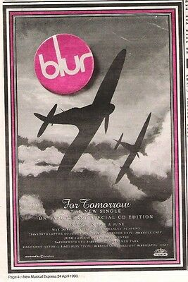 BLUR For Tomorrow 1993 UK Poster size Press ADVERT 10x7 inches