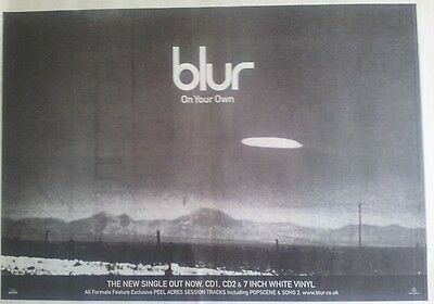 BLUR On Your Own 1997 UK Poster size Press ADVERT 16x12 inches