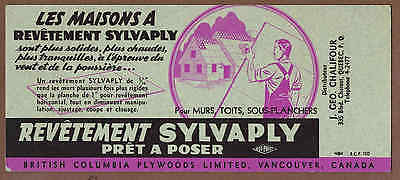 BRITISH COLUMBIA PLYWOOD, VANCOUVER, QUEBEC: Scarce CANADIAN Ink Blotter (1950)