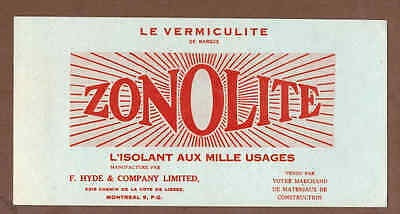 ZONOLITE, F. HYDE & CO, MONTREAL, QUEBEC: Scarce CANADIAN Ink Blotter (1950)