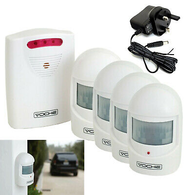 VOCHE® WIRELESS DRIVEWAY SECURITY INTRUDER ALARM 4x PIR MOTION SENSORS + ADAPTER