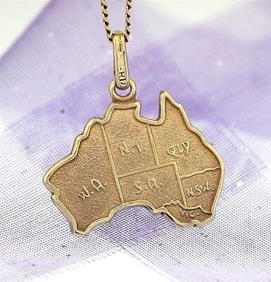 """MAP OF AUSTRALIA CHARM or PENDANT"" Guaranteed Genuine 9ct Gold"