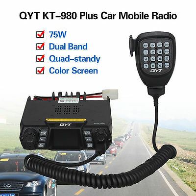 980 Plus Dual Band VHF UHF 200 CH Color Screen Car Mobile Radio+Microphone