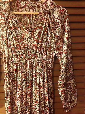 Vintage 60s 70s Bohemian Gypsy Indian Gauze Dress Size 6 - 8
