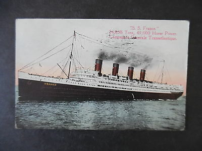 1918 Steamer France Postcard Used from Camp Merritt New Jersey