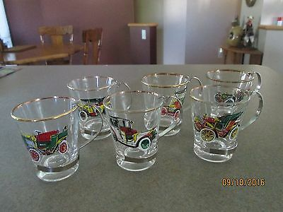 Set of 6 Antique Cars Shot Glassess