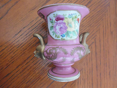Vintage pottery urn lion handles hand painted