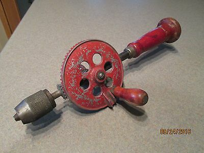 Vintage Red Handle Hand Crank Drill Egg Beater Wood Handle & Cast Iron Drill