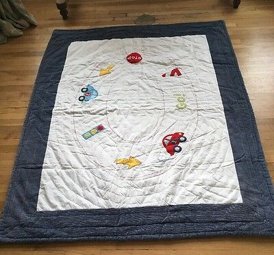 2.5 Tog Quilted Boys Transport Blanket By Mothercare 133cm X 171cm VGC