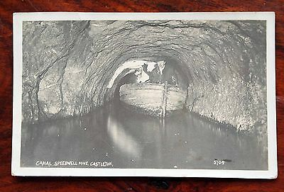 Posted 1928 Photo Postcard Rp Derbyshire Castleton Canal Speedwell Mine Boat Men