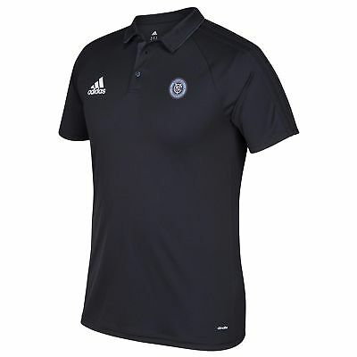 adidas Hombre Fútbol New York City FC Coaches Polo Camisa Top Negro Deporte