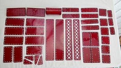 Vintage meccano plates girders dark red hinged pieces